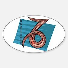 Cool Capricorn Zodiac Symbol Oval Decal