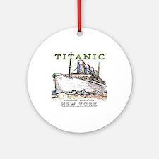 Titanic Neon (white) Round Ornament (porcelain)