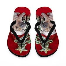 Christmas shar pei Flip Flops