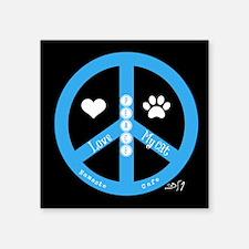 "Peace, Love, My Cat Square Sticker 3"" x 3"""