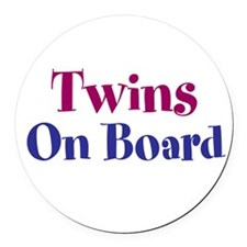 Twins On Board Round Car Magnet