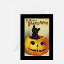 Black Kitten in Pumpkin (w/bd) Halloween Card