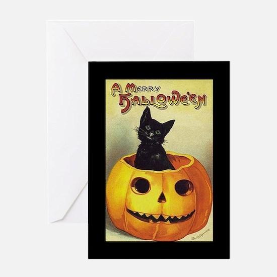 Black Kitten in Pumpkin (w/bd) Halloween Card
