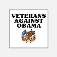 "Veterans against Obama - Square Sticker 3"" x 3"""