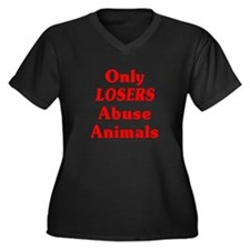 Only Losers Abuse Animals Women's Plus Size V-Neck
