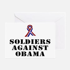 Soldiers against Obama Greeting Card