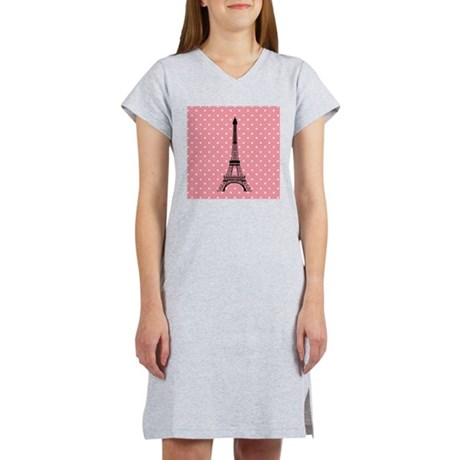 Pink Polka Dot Paris Eiffel Tower Women's Nightshi