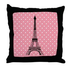 Pink Polka Dot Paris Eiffel Tower Throw Pillow
