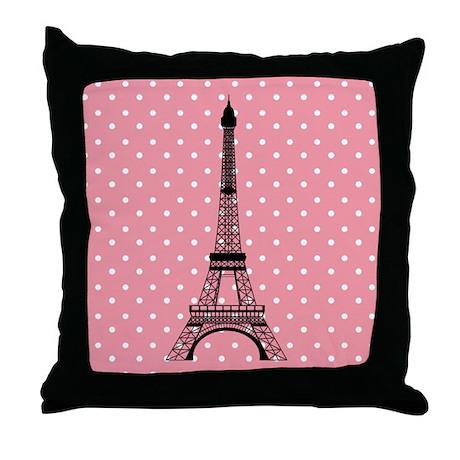 Pink Polka Dot Paris Eiffel Tower Throw Pillow
