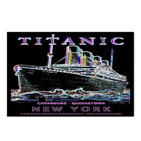 Titanic Neon (black) Postcards (Package of 8)