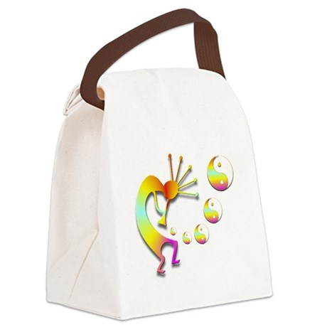 Kokopelli with Yin Yang #2 Canvas Lunch Bag