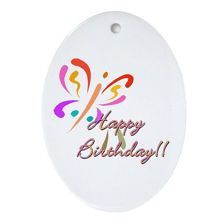 happy Birthday Oval Ornament
