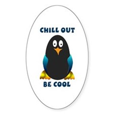 Cool Penguin Oval Decal