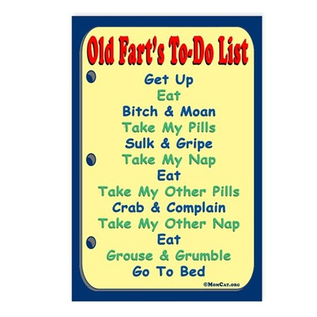 Old Fart's To-Do List Postcards (Package of 8)