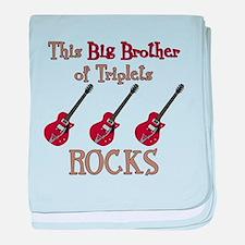 Big Bro Rocks Triplets baby blanket