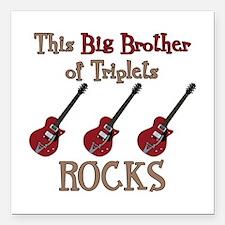"Big Bro Rocks Triplets Square Car Magnet 3"" x 3"""