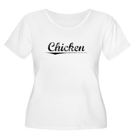 Chicken, Vintage Women's Plus Size Scoop Neck T-Sh