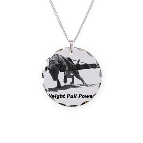Pitbull Weight Pull Power Necklace Circle Charm