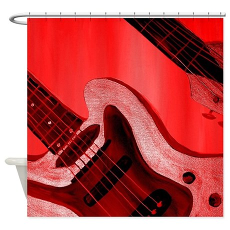 Red Hot Abstract Guitar Shower Curtain