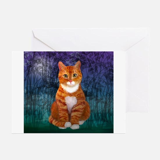 Orange Tabby Cat Snowflake Ornament Greeting Cards
