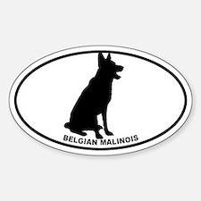 Belgian Malinois BW Sticker (Oval)