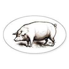 Victorian Pig Oval Decal