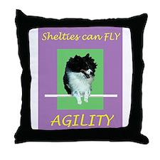 Sheltie Agility Throw Pillow