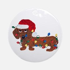 Dachshund (red) Tangled In Round Ornament