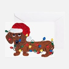 Dachshund (Red) Tangled In Christmas Lights Greeti