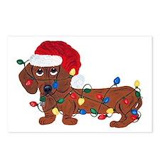 Dachshund (Red) Tangled In Christmas Lights Postca