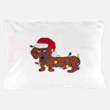 Dachshund (Red) Tangled In Christmas Lights Pillow
