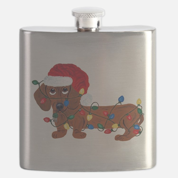 Dachshund (Red) Tangled In Christmas Lights Flask