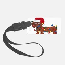 Dachshund (Red) Tangled In Christmas Lights Luggage Tag