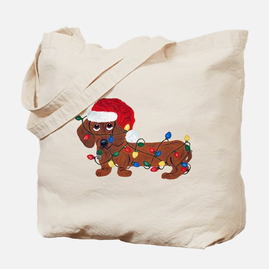 Dachshund (Red) Tangled In Christmas Lights Tote B