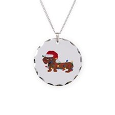Dachshund (Red) Tangled In Christmas Lights Neckla