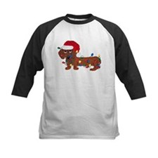 Dachshund (Red) Tangled In Christmas Lights Tee