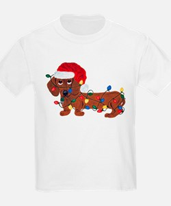 Dachshund (Red) Tangled In Christmas Lights T-Shirt