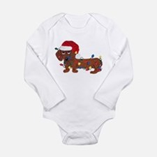 Dachshund (Red) Tangled In Christmas Lights Baby Outfits