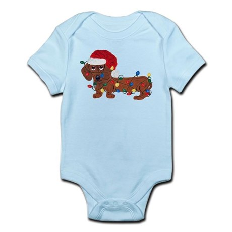 Dachshund (Red) Tangled In Christmas Lights Infant