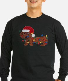 Dachshund (Red) Tangled In Christmas Lights T
