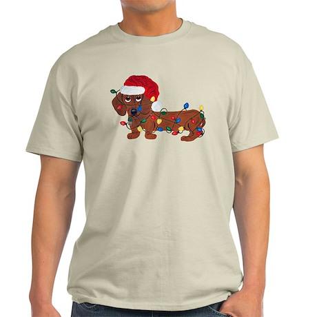 Dachshund (Red) Tangled In Christmas Lights Light