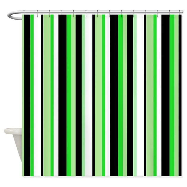 Black Stripe With Green Shower Curtain By Jqdesigns