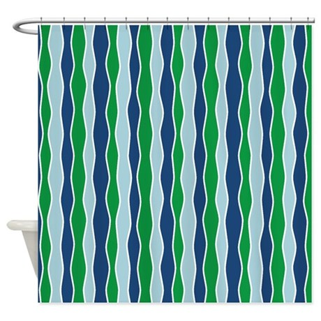 Wavy Stripes Blue Green Shower Curtain By Jqdesigns