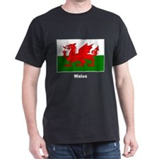 Wales Welsh Flag (Front) Black T-Shirt