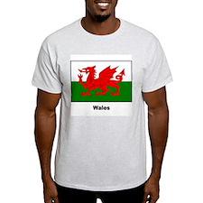 Wales Welsh Flag (Front) Ash Grey T-Shirt