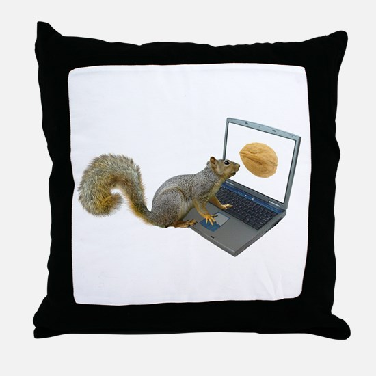 Squirrel at Computer Throw Pillow