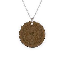 Devils Trap on Wood Button Necklace