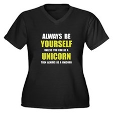 Always Be Unicorn Women's Plus Size V-Neck Dark T-