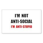 Anti Stupid Sticker (Rectangle 50 pk)