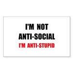 Anti Stupid Sticker (Rectangle 10 pk)